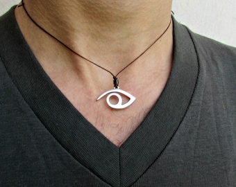 Mens Silver Eye Necklace Pendant Adjustable