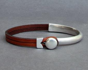 NEW DESIGN Boyfrend Gift Leather Bracelet For Men Silver Mens Leather Bracelet Customized On Your Wrist