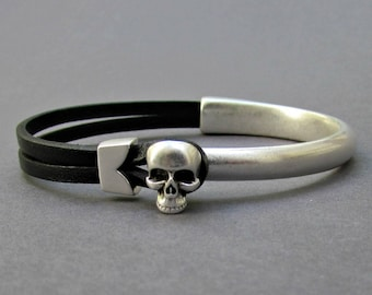Silver Skull Bracelet Cuff, Mens Leather Bracelet, Antique Silver Plated Bracelet Cuff, Customized On Your Wrist