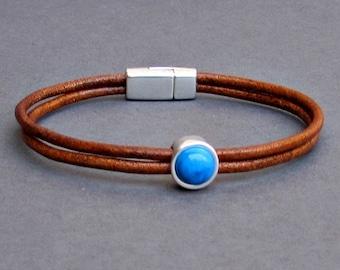 Gemstone Mens Leather Bracelet Dainty Bracelet Silver Bracelet Boyfriend Gift Mens Jewelry customized to your wrist