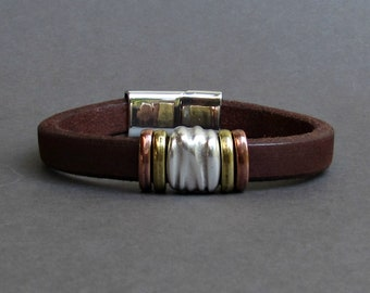 Mens Christmas Gift Men's Leather Bracelet Leather Mens Bracelet Cuff Silver Plating Magnetic Clasp, Boyfriend Gift Customized On Your Wrist