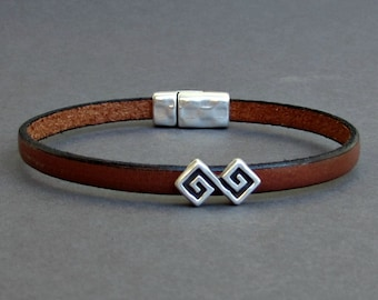 Ancient Geometric Mens Leather Bracelet Cuff Boyfriend Gift Customized On Your Wrist Fathers day gift