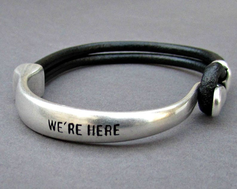 Mens Personalized Bracelet Engraved Mens Leather Bracelet image 0