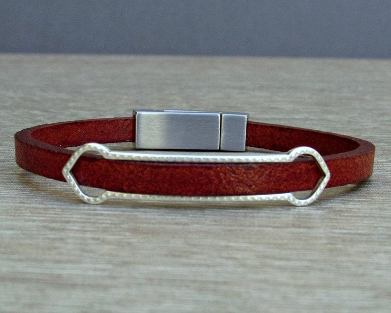 Leather Bracelet Mens Bracelet Boyfriend Gift Silver Plated Customized On Your Wrist Leather Mens Bracelet