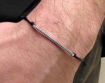Men's Bar Bracelet, Tiny Silver, Gold, Cord Bracelet For Men, gift for him, Boyfriend Gift, Mens Jewelry Adjustable