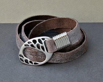 Men's Leather Bracelet, Wrap Bracelet Cuff, Unisex Bracelet, Adjustable to your wrist w01