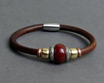 Red Jasper Leather Bracelet For Men Women Beaded Gemstone Bracelet Silver Bracelet Boyfriend Gift Mens Jewelry customized to your wrist