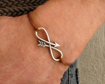 NEW DESIGN Infinity Arrow, Men's Bracelet, Silver Arrow, Cord Bracelet For Men, Gift for him, Bestfriend Bracelet, mens jewelry, Adjustable