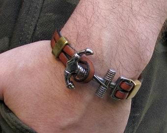Anchor Mens Bracelet Mens Leather bracelet For Men Customized On Your Wrist