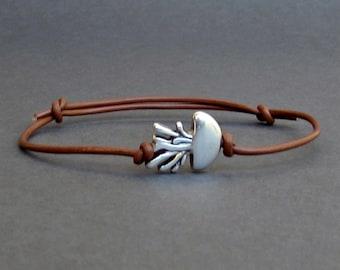 Jellyfish Bracelet, Silver Jellyfish Charm, Leather Bracelet For Men, Gift for him, Bestfriend Bracelet, mens jewelry, Adjustable