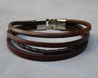Mens Boho Bracelet Cuff Unisex Multicolor Multistrand Leather Bracelet Mens Bracelet Womens bracelet Customized To Your Wrist
