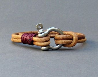 Nautical Mens Bracelet Schackle Mens Leather bracelet Cuff  Customized On Your Wrist