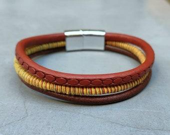 Boho Leather Bracelet Cuff Unisex Multicolor Multistrand Bracelet Mens Bracelet Womens bracelet Customized To Your Wrist