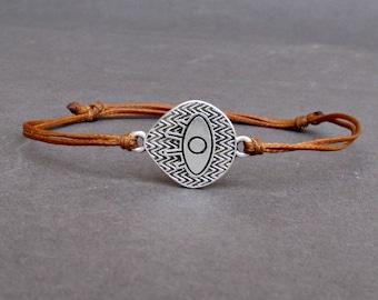 Boho Eye, Men's Bracelet, Silver Boho Eye Charm, Cord Bracelet For Men, Gift for him, Bestfriend Bracelet, mens jewelry, Adjustable