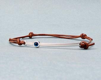 Evil Eye, Silver Bar Bracelet, Unisex Leather Cord Bracelet His And Hers Silver Dainty Bracelet Adjustable