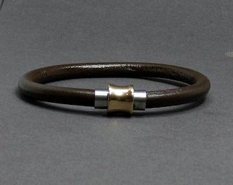 Rose Gold Antique Copper Mens Bracelet Stainless Steel Leather Bracelet For Men, For Boyfriend, Boyfriend Gift, Customised On Your Wrist