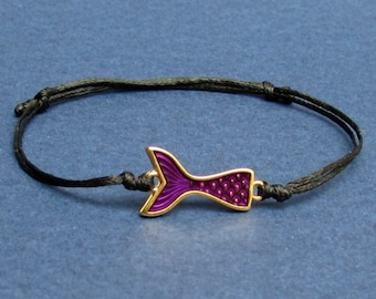 Whale Tail, Bracelet, Unisex Gold Whale Tail Charm, Cord Bracelet For Men, Gift for him, her, Unisex Jewelry, Adjustable