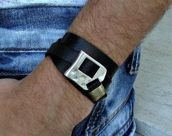 Men's Leather Bracelet, Wrap Bracelet Cuff, Unisex Bracelet, Adjustable to your wrist w03