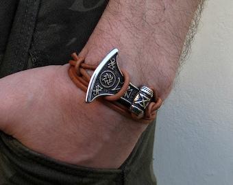 Viking Axe Mens Leather Bracelet Boho Wrap Bracelet Cuff Adjustable