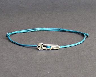 Tiny Key, Men's Bracelet, Silver Key Charm, Cord Bracelet For Men, Gift for him, Bestfriend Bracelet, mens jewelry, Adjustable