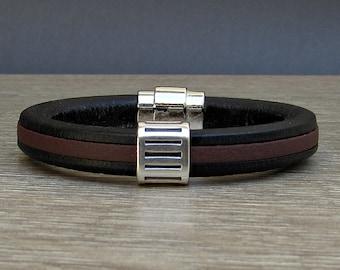 Bracelet For Men, Mens Leather Bracelet, Silver Bronze  Leather Mens Bracelet Cuff, Boyfriend Gift, Magnetic Clasp Customized On Your Wrist