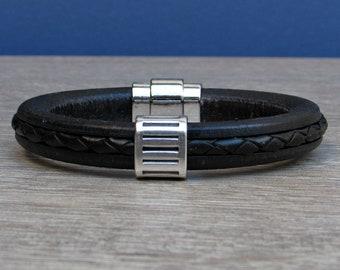 Mens Leather Bracelet, Bracelet For Men, Antique Silver Leather Mens Bracelet Cuff, Boyfriend Gift, Magnetic Clasp Customized On Your Wrist