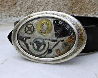 Leather Belt Buckle, Mens Womens Belt Buckle, Steampunk Accessory, Silver Belt Buckle