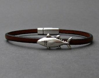 Tiny Fish Bracelet Mens Leather Bracelet Fish Dainty Bracelet Boyfriend Gift Customized On Your Wrist width 3mm Fathers day gift