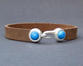 Mens Gemstone Bracelet Hook Leather Mens Bracelet Cuff Silver Plating  Customized On Your Wrist