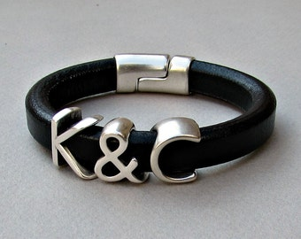 Two Initials Bracelet, Personalized Initial Bracelet, Silver Monograms Leather Bangle Bracelet, Customized on your wrist