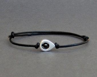 Nautical Cord Bracelet, Silver Nautical Leather Bracelet For Men, Gift for him, Bestfriend Bracelet, mens jewelry, Adjustable