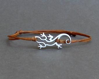 Lizard, Bracelet, Silver Lizard Charm, Cord Bracelet For Men, Gift for him, Bestfriend Bracelet, mens jewelry, Adjustable