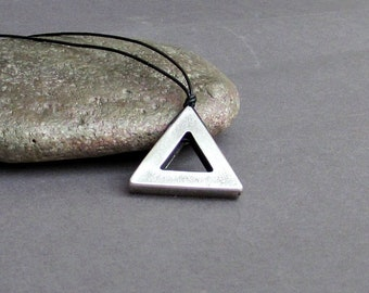 Men's Geometric Necklace, Pendant, Men's Silver Triangle Leather Necklace Pendant, Mens Jewelry Mens Gift