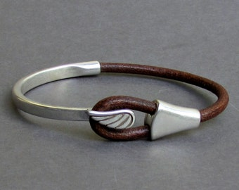 Angel Wing Mens Bracelet, Leather Mens Bracelet, Bracelet For Men Silver Plated Customized On Your Wrist