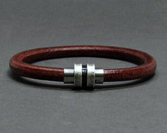 NEW DESIGN Bracelet For Men, Mens Bracelet Silver Stainless Steel Leather Bracelet, For Boyfriend, Boyfriend Gift, Customised On Your Wrist
