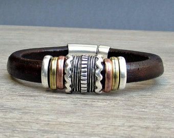 Boyfriend Gift, Men's Leather Bracelet, Silver Leather Mens Bracelet Cuff, Bracelet For Men, Magnetic Clasp Customized On Your Wrist