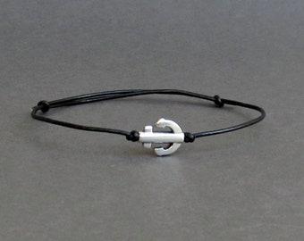 Tiny Anchor Bracelet, Silver Anchor Leather Cord Bracelet His And Hers Silver Dainty Bracelet Adjustable