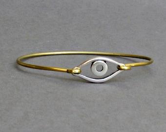 Evil Eye Bracelet,  Bangle Bracelet,Mens Womens Minimalist Evil Eye Bangle Bracelet, evil eye jewelry,