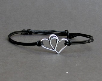 Two Hearts Bracelet, Silver, Couples Leather Bracelet For Men,Fo women, Gift for him, Bestfriend Bracelet, mens jewelry, Adjustable