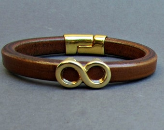 Gold Silver Mens Leather Bracelet Infinity Leather Mens Bracelet Cuff, Magnetic Clasp Customized On Your WristFathers day gift