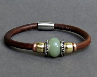 Aventurine Leather Bracelet For Men Women Beaded Gemstone Bracelet Silver Bracelet Boyfriend Gift Mens Jewelry customized to your wrist
