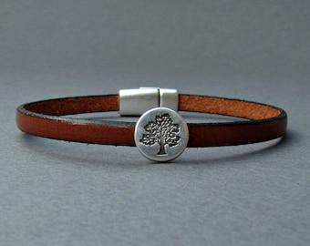 Tree Of Life Bracelet Leather Bracelet Cuff Unisex Gift Customized On Your WristFathers day gift