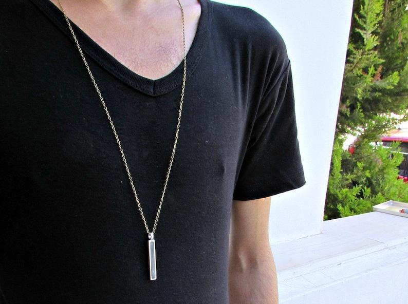 Men's Necklace Men's Bar Long Necklace Men's image 0