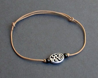 Bracelet For Men, Silver Tribal Charm, Leather Bracelet For Men, Gift for him, Bestfriend Bracelet, mens jewelry, Adjustable