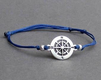 Compass, Men's Bracelet, Silver Compass Charm, Cord Bracelet For Men, Gift for him, Bestfriend Bracelet, mens jewelry, Adjustable