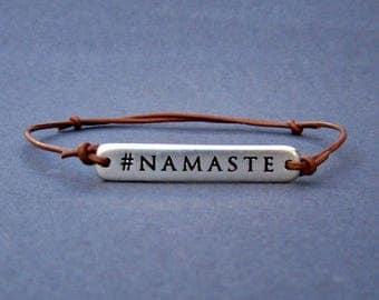 Leather Namaste Bracelet, Yoga Jewelry, Namaste Jewelry Gift, Leather Yoga Jewelry Gift Unisex Bracelet