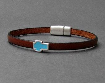 Cross Bracelet Mens Leather Bracelet Cuff Boyfriend Gift Customized On Your Wrist