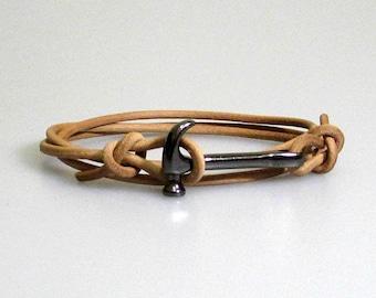 Hammer Mens Leather Bracelet Mens wrap Cuff Bracelet Adjustable Black, Silver, Gold, Bronze
