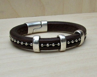 Mens Leather Bracelet, Silver Chain Bracelet Cuff, With Silver Plating Magnetic Clasp Customized On Your WristFathers day gift
