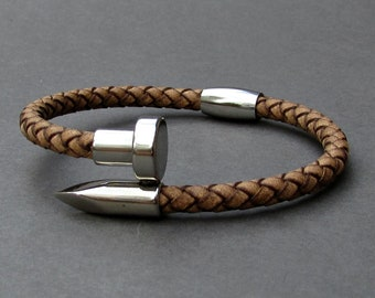Nail Mens Leather Bracelet, Braided Bracelet For Men, Customized On Your WristFathers day gift